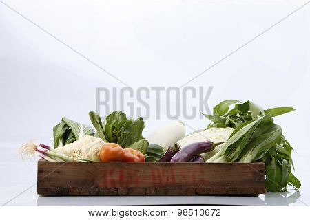 group shot of vegetables in a create