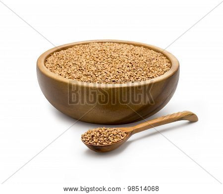 Buckwheat in a wooden bowl