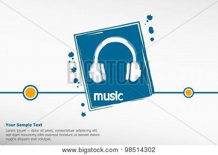 Vector Headphones On Grunge Background.