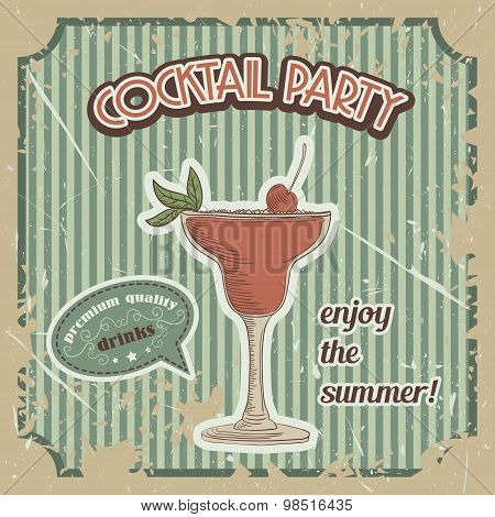 Vector Cocktail poster in vintage style with typography elements