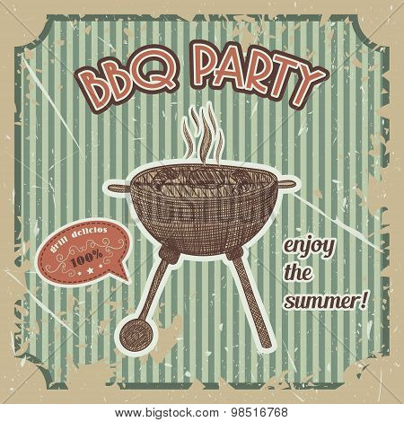 bbq party vintage poster with bbq grill on the grunge background. Retro hand drawn vector illustrati