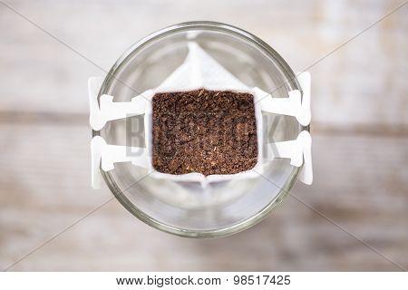 Instant freshly brewed cup of coffee Drip bag fresh coffee