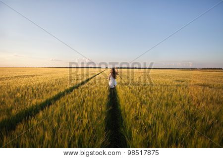 Beautiful Woman Run Away In Yellow Wheat Field