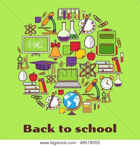 Back to school.  background with school supplies.