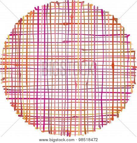 Circular Hand-drawn Liquid Pink Orange Stripe Grid Pattern Over White