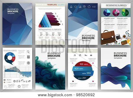Blue Backgrounds, Abstract Concept Infographics And Icons