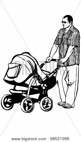 Sketch Of A Young Dad Walking With A Stroller