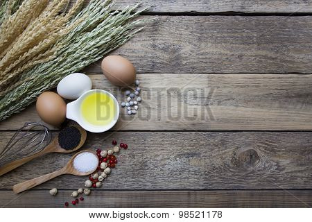 Food Ingredients, Kitchen Utensils For Cooking On Wooden Background