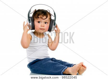 happy asian boy listening to music
