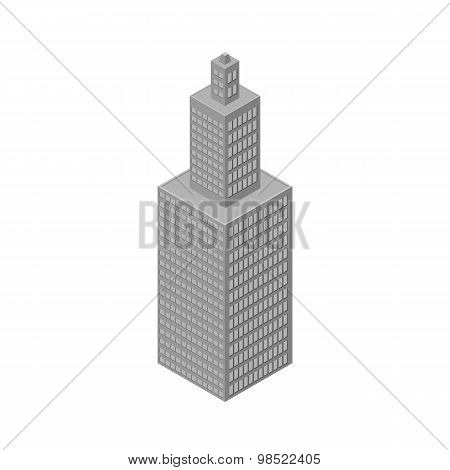 Isometric Skyscraper, Tall Building. Isolated On White Background. Vector Illustration.