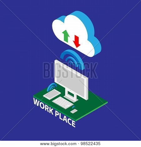 Workplace Isometric Elements Set With Computer, Tablet And Phonevector Illustration
