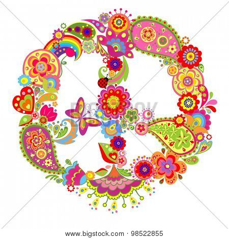 Peace flower colorful symbol with paisley