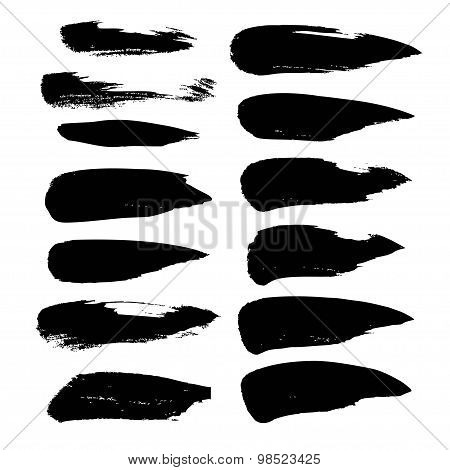 Abstract Black Strokes Of Paint  Isolated On A White Background