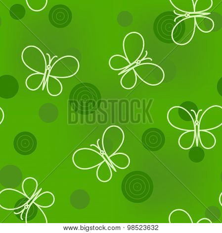 Seamless Pattern With Circles And Butterflies