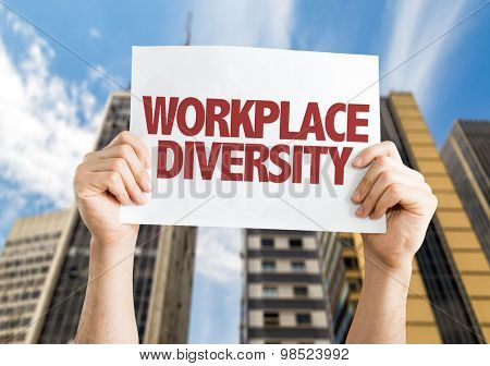 Workplace Diversity card with urban background