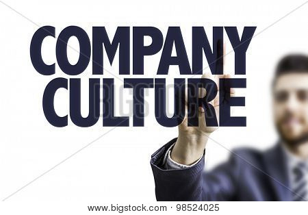 Business man pointing the text: Company Culture