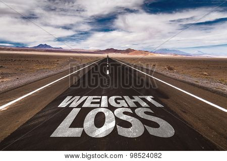 Weight Loss written on desert road