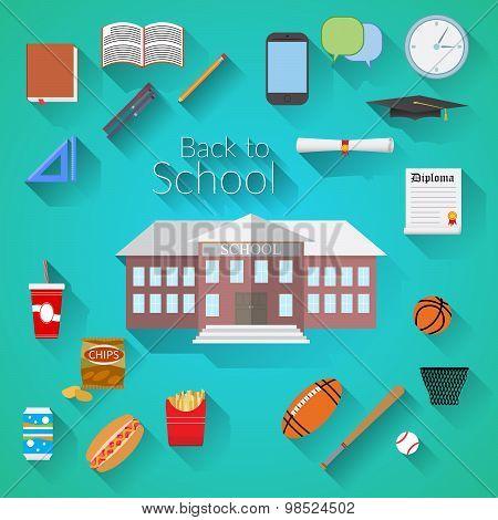 Back To School Flat Design Modern Vector Illustration, School Building, Pen, Pensil, Food, Sport Ite