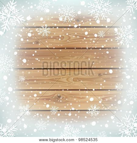 Winter background with wooden planks.