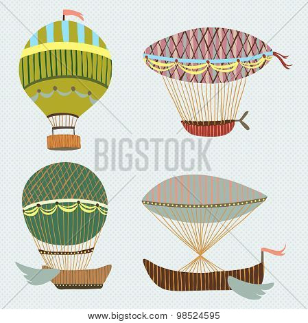 Beautiful retro colorful background with set of flying balloons and airships. Cartoon fantasy vector
