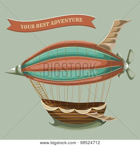 Cartoon steampunk styled flying airship with baloon, wings and propeller. Vector illustration in ret