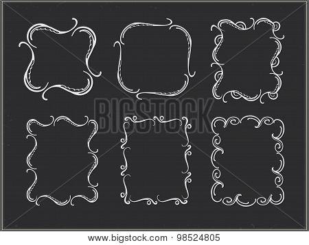 Set of chalk ornate frames.
