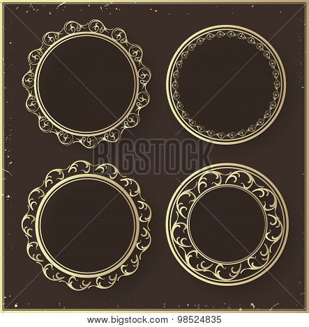 Set of golden ornate frames.