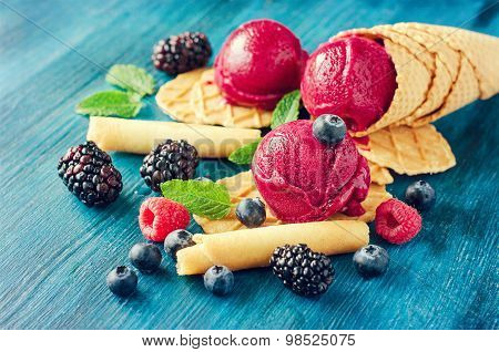 Red Ice Cream With Berries, Sorbet Vintage