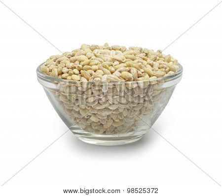 white rice in a glass bowl