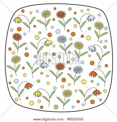 Vector round square element with daisy flowers and bellflowers