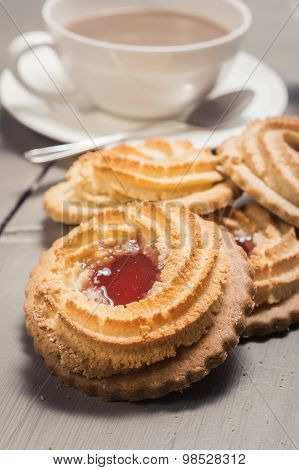 German Ox Eye Cookies On A Table