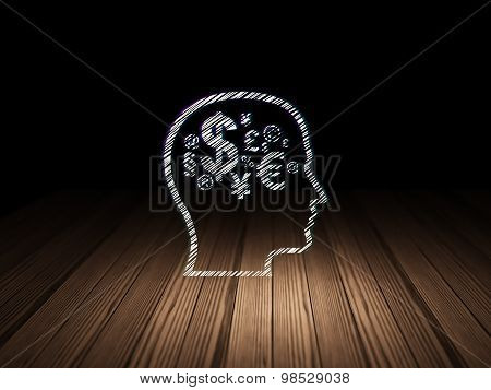 Advertising concept: Head With Finance Symbol in dark room