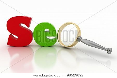 SEO with Magnifying glass instead of letter. 3d illustration on white background