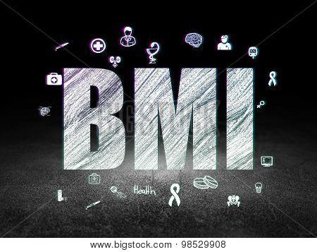Health concept: BMI in grunge dark room