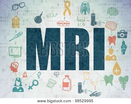 Health concept: MRI on Digital Paper background