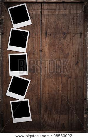 Vintage Polaroid  Frame On Wood