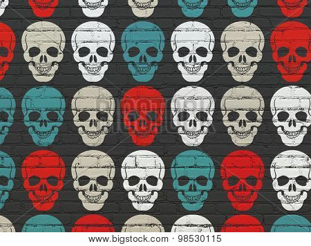 Healthcare concept: Scull icons on wall background