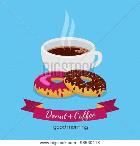 Printvector Food Illustration Of Coffee Cup And Two Donuts With Chocolate And Pink Sweet Cream. Abst
