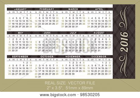 Pocket Calendar 2016, Vector, Start On Sunday