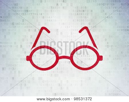 Science concept: Glasses on Digital Paper background