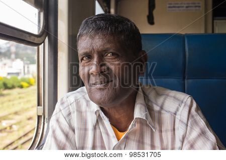 Coast, Sri Lanka - 03,02,2015: Railway, railway station, the jungle - the people in the cars