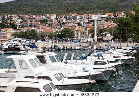 SELCE, CROATIA - JULY 24, 2015: View of Marina Selce and the boat lift