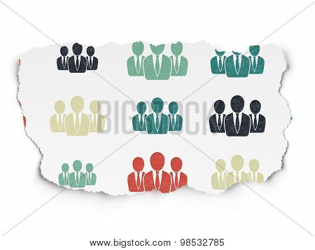News concept: Business People icons on Torn Paper background