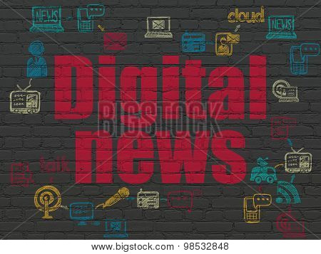 News concept: Digital News on wall background