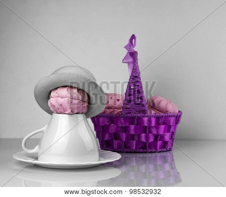 Zephyr Purple Basket, Cup Saucer