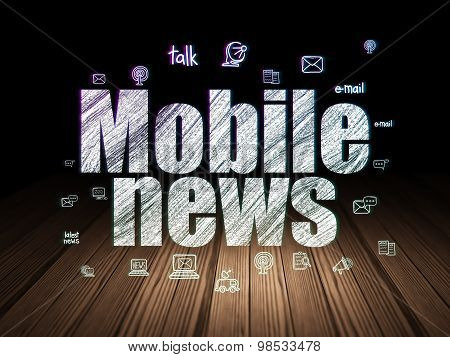 News concept: Mobile News in grunge dark room