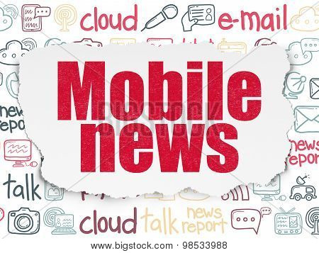 News concept: Mobile News on Torn Paper background