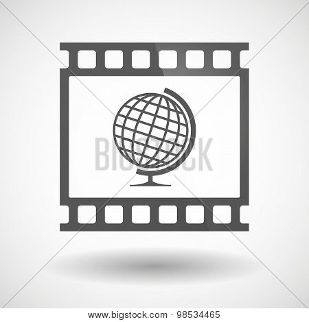 Photographic Film Icon With A World Globe
