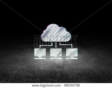Cloud computing concept: Cloud Network in grunge dark room