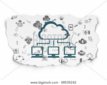 Cloud technology concept: Cloud Network on Torn Paper background